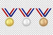 Vector 3d Realistic Gold, Silver and Bronze Award Medals Icon Set with Color Ribbons Closeup Isolated on Transparent Background. The First, Second, Third Place, Prizes. Sport Tournament, Victory