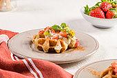 Fresh egg waffles dessert