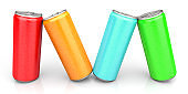 Colorful Cans on White Background - 3D Rendering Image