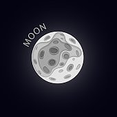 Moon. Planet in paper cut style. Vector