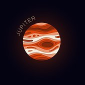 Jupiter. Planet in paper cut style. Vector