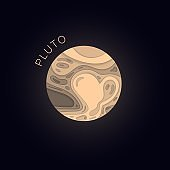 Pluto. Planet in paper cut style. Vector