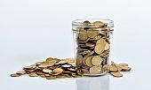 Coins spilling