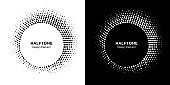 Halftone circle frame abstract dot logo emblem design element. Half tone circular icon collection. Original round border using halftone circle dots raster texture. Vector set.
