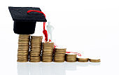 Graduation hat and figurine on coins