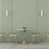Сafe interior in green with concrete floor
