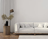 Ethnic style living room with white sofa