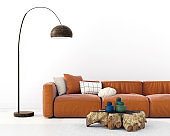 living room with a terracotta-colored sofa