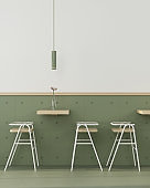 Сafe interior in green with wooden furniture