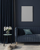 Mock up Interior of the living room in monochrome blue with poster. 3d render