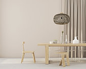 minimalistic dining room with wooden furniture