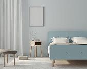 Mock up bedroom interior in a light blue color with poster. 3d render