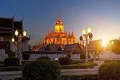 Wat Ratchanatdaram(Loha Prasat) temple during twilight time,