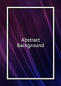 Abstract wavy square grid on a black background. Bright color gradient. Elegant background for wallpaper, banner, cover, flyer. Business template.