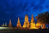 Old Temple wat Chaiwatthanaram of Ayutthaya