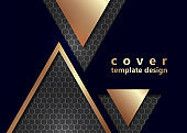Bright corporate banner design with hexagons texture, triangles, color gradient. Abstract technology background.