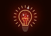 Science is the study of molecules, atoms, neurons. Icon idea, solution, discovery in the form of a glowing light bulb.