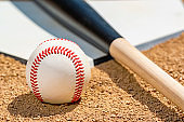 Close-up of a baseball and wooden bat on home plate