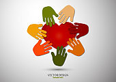 Heart, open palms. Icon, flat design. The concept of charity, volunteering, love, kindness, family, social problems.