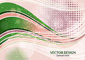 Bright abstract composition, shiny curved lines, wavy blend lines, sparkling particles, glare. Magic concept with bokeh effect for the design of cards, banners, flyers or background.