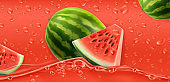 Red drops. Watermelon. 3d realistic vector