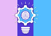 Creative light bulb with gears and brain working together. Brainstorming, intellectual power, a new concept of innovative ideas.