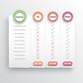 Comparison pricing list. Comparing price or product plan chart compare products business purchase discount hosting image grid. Services cost table unlimited menu planning vector infographics template.