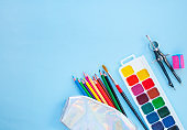Set of stationery. Back to school concept.