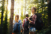 People trekking in forest and having fun
