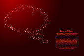 Cloud thought fly bubble speech from futuristic polygonal red lines and glowing stars for banner, poster, greeting card. Vector illustration.