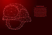Construction helmet, safety concept from futuristic polygonal red lines and glowing stars for banner, poster, greeting card. Vector illustration.