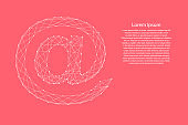E-mail symbol from abstract futuristic polygonal white lines and dots on pink rose color coral background for banner, poster, greeting card. Vector illustration.