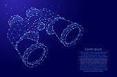 Binoculars, search concept from futuristic polygonal blue lines and glowing stars for banner, poster, greeting card. Vector illustration.