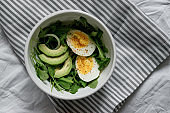 flat lay breakfast. Wholesome food, beautiful serving. Eggs, avocados and greens.