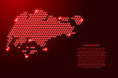 Singapore map from 3D red cubes isometric abstract concept, square pattern, angular geometric shape, for banner, poster. Vector illustration.
