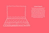 Laptop open notebook portable from abstract futuristic polygonal white lines and dots on pink rose color coral background for banner, poster, greeting card. Vector illustration.