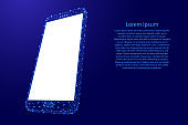 Smartphone cell web online mobile phone from futuristic polygonal blue lines and glowing stars for banner, poster, greeting card. Vector illustration.