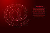 E-mail symbol from futuristic polygonal red lines and glowing stars for banner, poster, greeting card. Vector illustration.