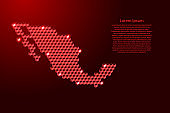 Mexico map from 3D red cubes isometric abstract concept, square pattern, angular geometric shape, for banner, poster. Vector illustration.