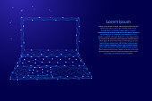 Laptop open notebook portable from futuristic polygonal blue lines and glowing stars for banner, poster, greeting card. Vector illustration.