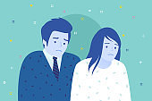 Concept of friendship and support. Man and women are together. Cheerful woman supports sad man