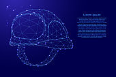 Construction helmet, safety concept from futuristic polygonal blue lines and glowing stars for banner, poster, greeting card. Vector illustration.