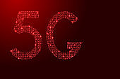 5G internet symbol icon network sign from printed board, chip and radio component with red star space on the contour for banner, poster, greeting card. Computer electronics processor motherboard. Vector illustration.