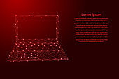 Laptop open notebook portable from futuristic polygonal red lines and glowing stars for banner, poster, greeting card. Vector illustration.