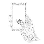 Smartphone in a human hand, mobile phone communication tool, device data transmission from abstract futuristic polygonal black lines and dots. Vector illustration.