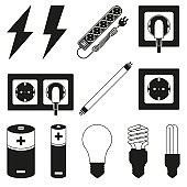 12 black and white electric elements set