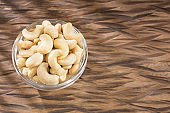 Unshelled roasted and salted cashew nuts - Anacardium occidentale