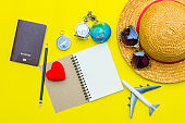Traveler accessories on yellow background with camera and sunglasses. Top view travel or vacation concept. Flat lay, top view. Summer background.