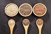 Quinoa, flaxseed and chia - Organic seeds. Superfoods