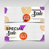 Sale banner collection. Banner template for fashion sale, business promotion with geometric shapes and space for your image. Vol.90